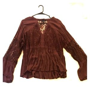 American eagle lace bell sleeve top